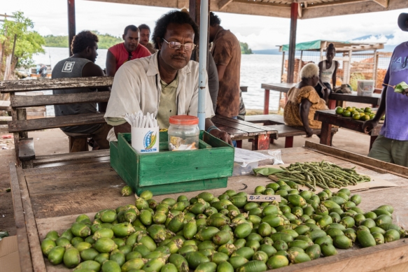 Very popular throughout the region, betel nuts are chewed with a touch of lime wrapped in a betel pepper leaf, Central Market, Gizo, Ghizo Island, Solomon Islands