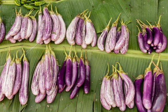 We bought some of these delicious striped purple Asian eggplants at the Central Market, Honiara, Guadalcanal, Solomon Islands