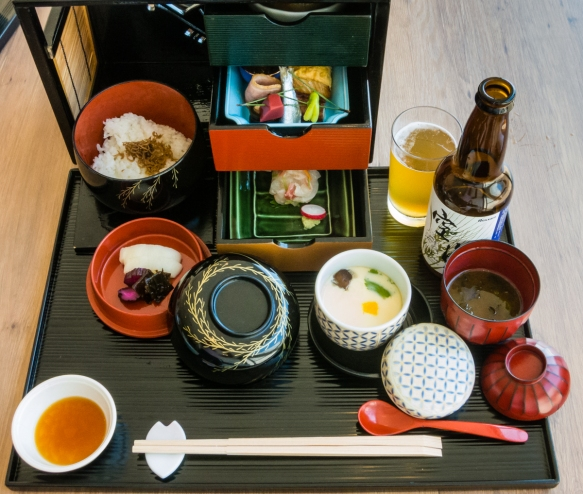 A Bento box lunch served at the restaurant in the Benesse House Museum, Naoshima, Japan