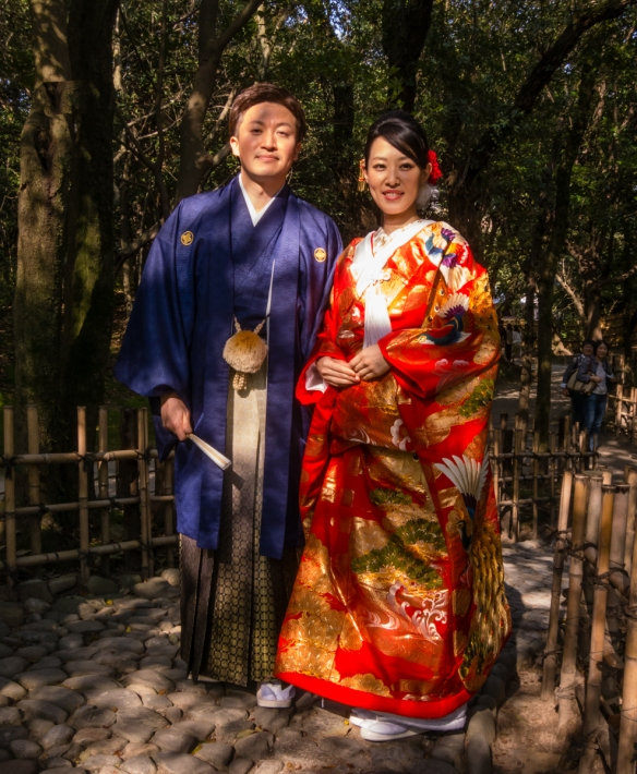 A bride and groom in Ritsurin Garden, Takamatsu, Kagawa, Japan, for their wedding photographs were kind enough to let me also capture their image