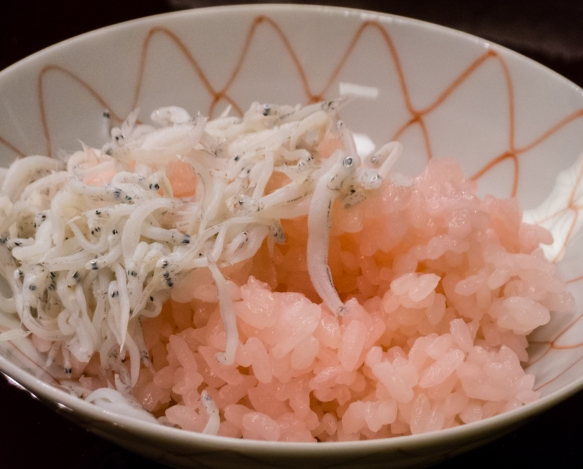 "A close up of ""Steamed rice with small fish [whitebait]"", Kaiseki (sushi dinner), Kanazawa, Honshu Island, Japan"