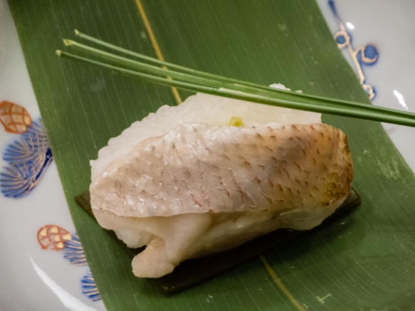 "A close up of the ""Steamed sea bass"", Kaiseki (sushi dinner), Kanazawa, Honshu Island, Japan"