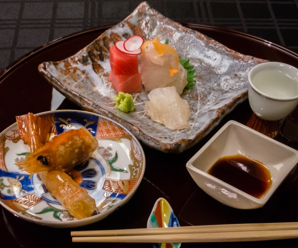 "A complex course with a number of ingredients – ""White meat fish, squid, tuna, Bottan shrimp pickled Chinese wine"", Kaiseki (sushi dinner), Kanazawa, Honshu Island, Japan"