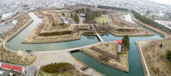 A panorama of Goryokaku Fort taken from the top of the modern, concrete Goryokaku Tower; the pentagon-style citadel was Japan_s first Western-style fort and the site is now home to an