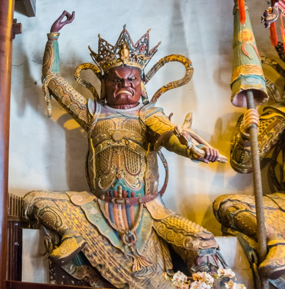 A third Deva King in the Chamber of Four Heavenly Kings at the Jade Buddha Temple, Shanghai, China