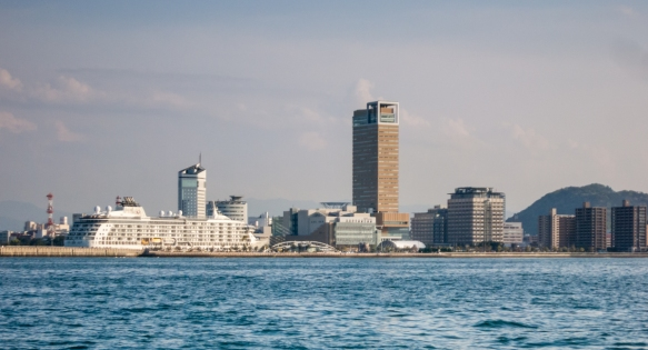 As we approached the port of Takamatsu on the return ferry ride from Naoshima, we could see our ship docked along the city_s skyline