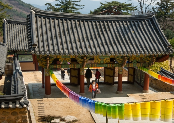 Colored lanterns decorate the paths up and down the entry gates at Beomeosa Temple, Mt. Geumjeongsan, Busan, South Korea