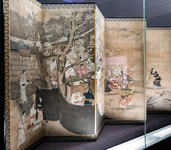"""Designated as a National Treasure in 1953- """"Merrymaking under Blossom Trees"""" by Kano Naganobu (1577-1654), color on paper (screen), Edo period, 17th century, Tokyo National Museum, T"""