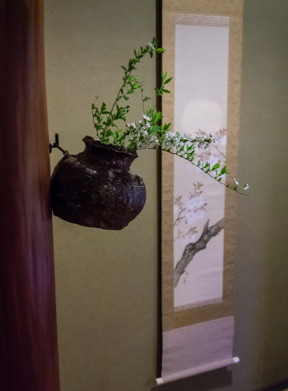 During the chanoya (the tea ceremony) guests (other than the honored guest) might look at the kakejiku (scroll painting) and flowers, Japanese Tea House, Kyoto, Japan