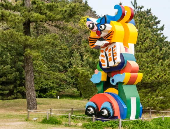 """Cat"", 1991, by Niki de Saint Phalle in the Benesse House Park, Naoshima, Japan"
