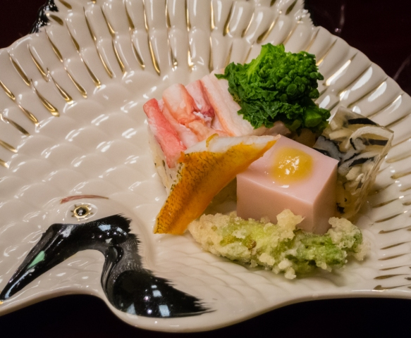 """Globefish jerry, sesame seed tofu, Crab sushi, sillago with urchin; Fried wild vegetable"", Kaiseki (sushi dinner), Kanazawa, Honshu Island, Japan"