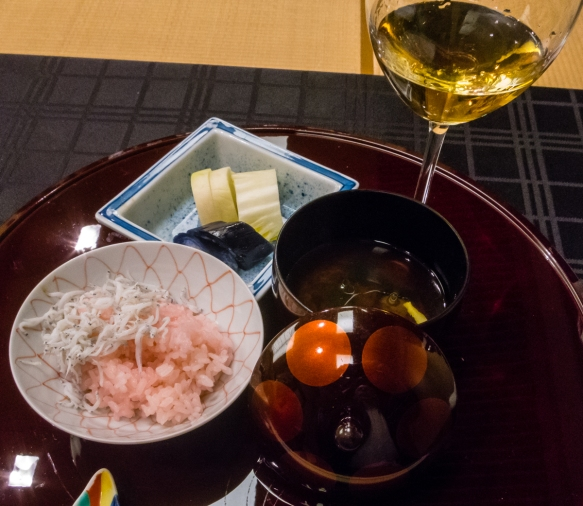 """Steamed rice with small fish [whitebait]"", Kaiseki (sushi dinner), Kanazawa, Honshu Island, Japan"