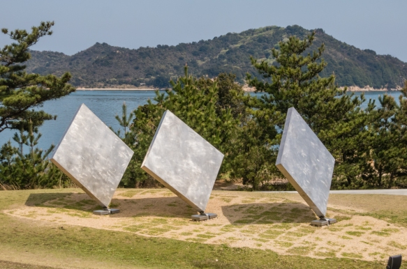 """Three Squares Vertical Diagonal"", 1972-1982, by George Rickey on the shoreline below the Benesse House Museum, Naoshima, Japan"