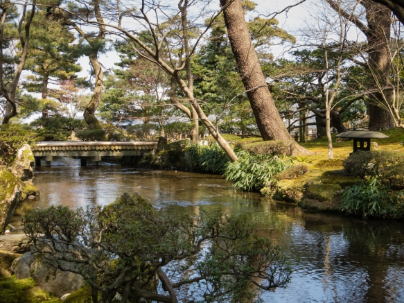 Flowing water in the gardens was a major engineering accomplishment in the 1600s and the streams, ponds and lakes in Kenroku-en, Kanazawa, Honshu Island, Japan, are an integral part of t