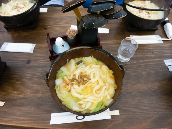 "For some of the best traditional Houtou noodles (in soup) in the Fuji Lakes region, we ate lunch at Houtou Fudou (located inside a modern architectural ""marvel"" of a building, near L"