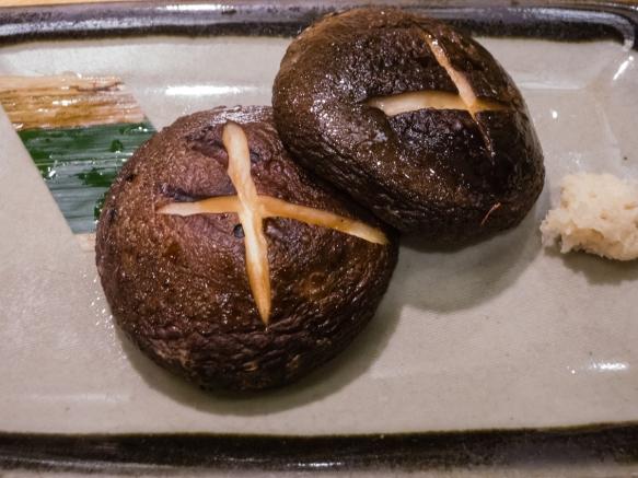 Grilled shitake mushrooms, Inakaya (Roppongi East), Tokyo, Japan