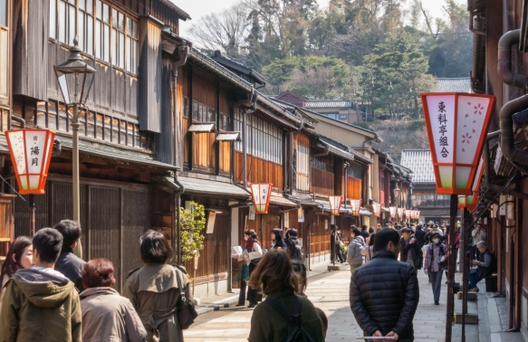 Higashiyama (street) is one of the main streets featuring well preserved and restored teahouses in the Eastern Geisha District (Higashi-chaya-gai), Kanazawa, Honshu Island, Japan