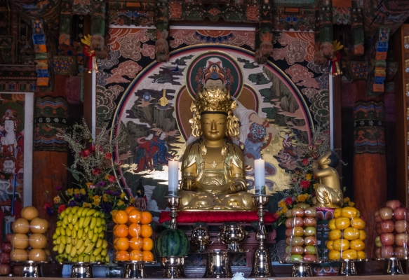 Inside a temple, offerings to Buddha, Beomeosa Temple, Mt. Geumjeongsan, Busan, South Korea