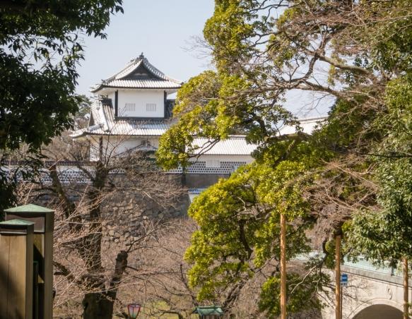 Kanazawa Castle viewed from Kenroku-en, Kanazawa, Honshu Island, Japan