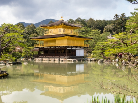 Kinkaku (The Golden Pavilion) is a shariden, a Buddhist hall containing relics of Buddha, Kyoto, Japan