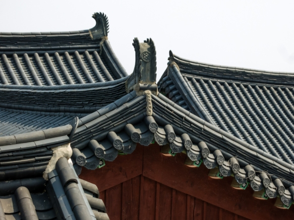 "Korean-style ""gargoyles"" on roofs, Beomeosa Temple, Mt. Geumjeongsan, Busan, South Korea"