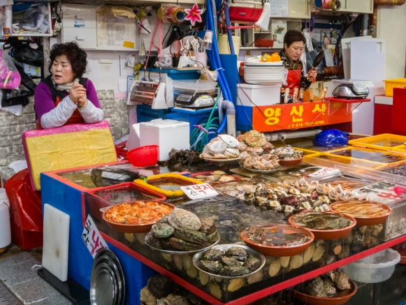 Many different kinds of crustaceans were on sale at this stall and many others, throughout the Jagalchi Fish Market, Busan, South Korea