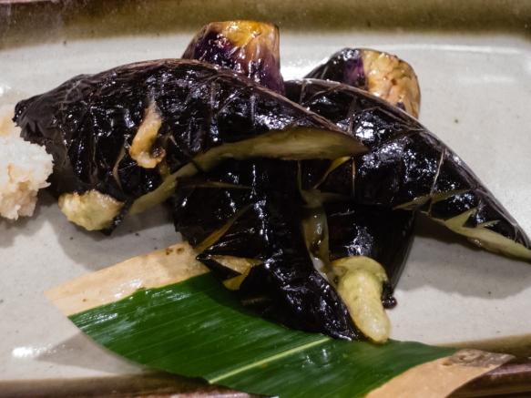 Melt-in-your-mouth fresh grilled Japanese eggplant, Inakaya (Roppongi East), Tokyo, Japan