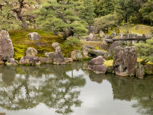 One of the beautiful Japanese gardens in Nijo-jo Castle, Kyoto, Japan