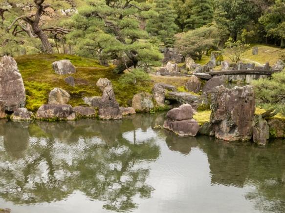 One of the beautiful Japanese gardens in Nijo-jo Castle, Kyoto, Japan