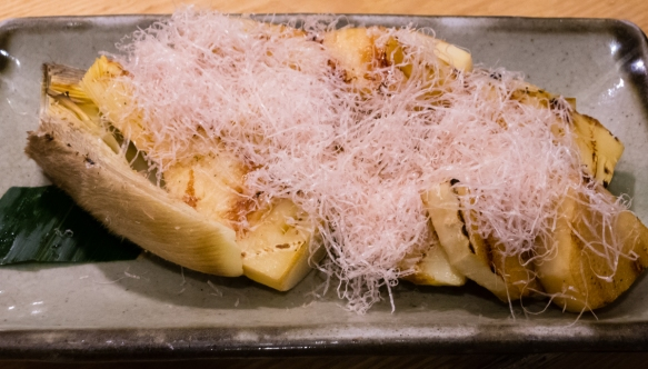Only available for about a month in the spring as new bamboo shoots sprout up, these grilled bamboo shoots were a special seasonal treat at Inakaya (Roppongi East), Tokyo, Japan