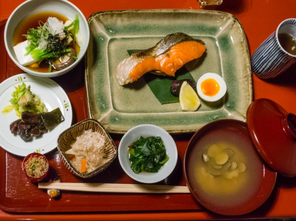Our traditional Japanese breakfast at Tawaraya Ryokan featured seafood, tofu and vegetables, Kyoto, Japan