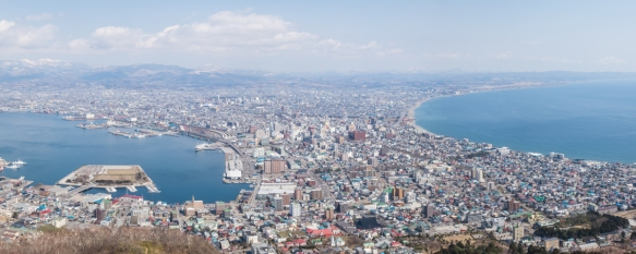 Panorama of Hakodate, Hokkaido Island, Japan, taken from the top of Mt. Hakodate -- renowned for its view of the surrounding bay and city -- that we climbed early in the morning on the o