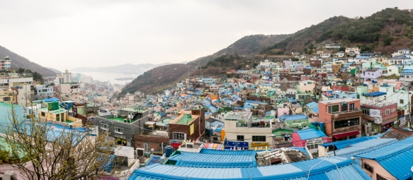 Panorama of the Gamcheon Culture Village, Busan, South Korea, with its pastel hued homes -- many in Busan note that this exotic neighborhood is reminiscent for them of Machu Picchu
