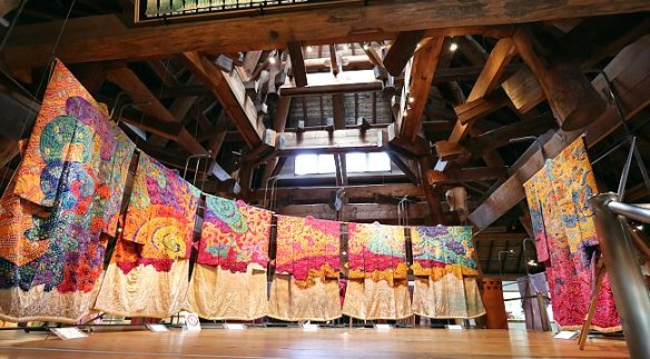 "Several of the Tsujigahana-Dyed kimonos making up part of the ""Symphony of Light"" by Itchiku Kubota, Itchiku Kubota Art Museum, near Lake Kawaguchi, Yamanashi, Japan; source www.japan-gu"