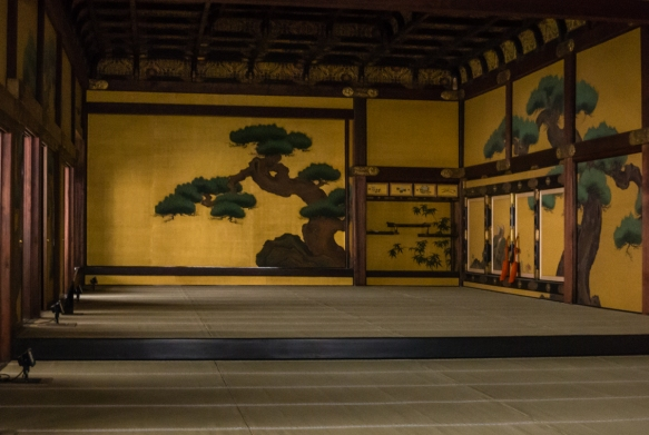 The beautifully decorated and painted Ohiroma of Ninomaru-goten Palace in Nijo-jo Castle, Kyoto, Japan, where the Shoguns sat on the upper level and received daimyo lords and foreign dig