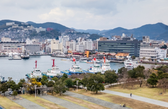 The central business district of Nagasaki, Kyushu, Japan, is located behind and uphill of this small harbor -- our dock was adjacent to this area and quite handy to walk into town; note