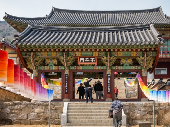 "The first entry gates to Beomeosa Temple, Busan, South Korea, on Mt. Geumjeongsan, named as such -- Geumsaem (gold well) – which gives the temple its name, ""fish from heaven"""