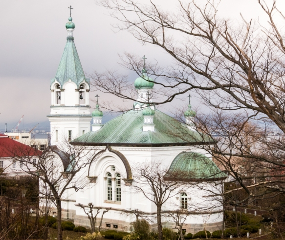 The Hakodate Orthodox Church was founded by the Russian Consulate in 1859 with the existing church, adorned with distinctive copper domes and spires, dating back to 1916; Hakodate, Hokka