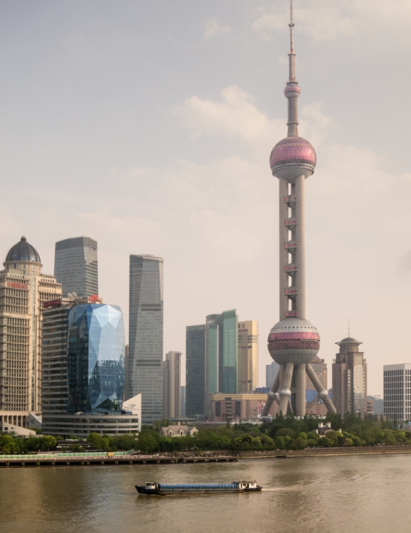 The Pudong district across the Huangpu River from the Bund (Central Business District) of Shanghai, China, was a marsh until development started twenty-five years ago; yes, all these bui