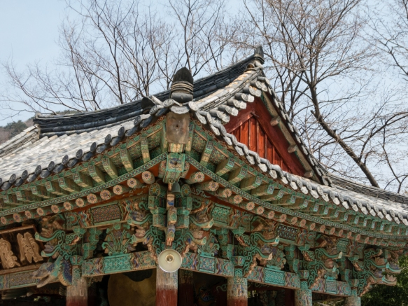 The roof of one of the upper level temple halls, Beomeosa Temple, Mt. Geumjeongsan, Busan, South Korea