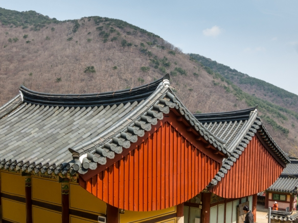 The setting of Beomeosa Temple, Mt. Geumjeongsan, Busan, South Korea, is in a beautiful mountain forest_