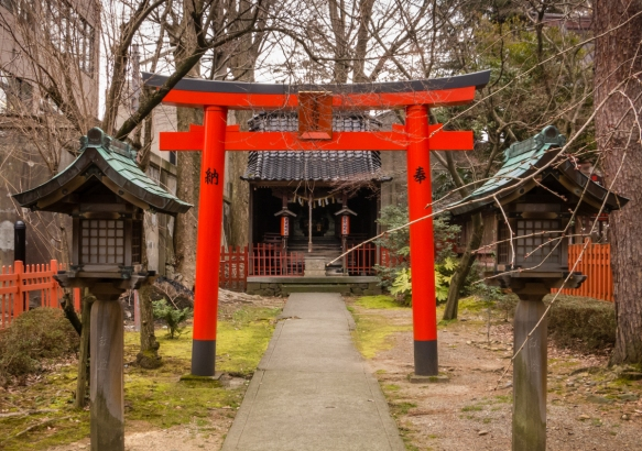 The Torii Gate at the entrance to Ozaki Shrine, Kanazawa, Honshu Island, Japan