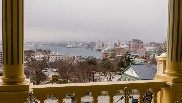 The view from The Old Public Hall of Hakodate Ward's main hall_s balcony, Hakodate, Hokkaido Island, Japan
