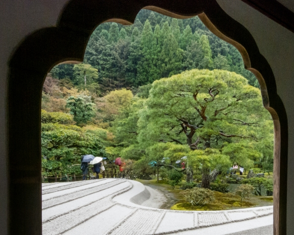 The view, just after the public entry to the site, from the Kogetsudai Window of Ginsyadan (representing waves and white sand) and the gardens at Ginkakuji Temple (a Zen temple establish