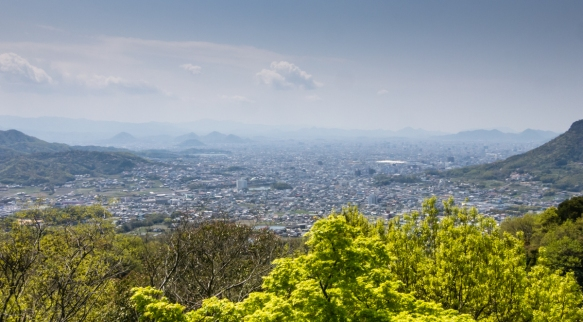 The view of Takamatsu and the surrounding region from Yashimaji Temple #84 on the 88 Temple Pilgrimage, Takamatsu, Shikoku Island, Japan