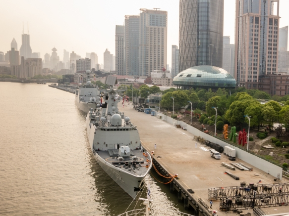 These two Chinese Navy ships took our pier spot, so we were docked behind them near the Shanghai Port International Passenger Terminal, Shanghai, China; the view is towards the Bund whic