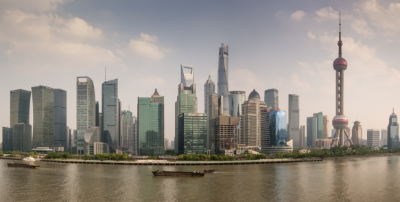 This panorama of the Pudong district, Shanghai, China, includes the second tallest building in the world (center), the Shanghai Tower, standing at 632 meters - 2,073 feet and Dōngfān