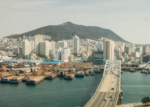 This photograph of Busan_s Yeongdo-Gu Island was taken during lunch from a Korean restaurant on the 6th floor of the Lotte Department store in the Busan Central District