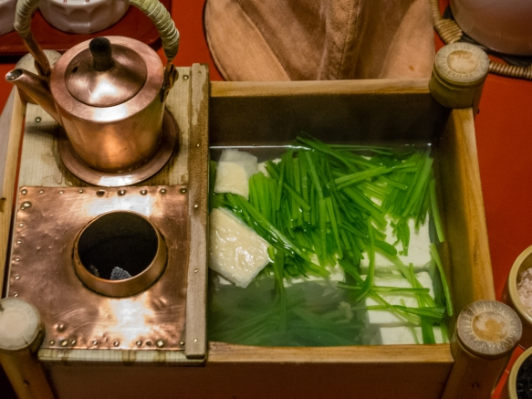 This service box contained tofu and vegetables with a separate copper carafe of hot soup heated by the charcoal brazier, Ryokan breakfast at Tawaraya, Kyoto, Japan