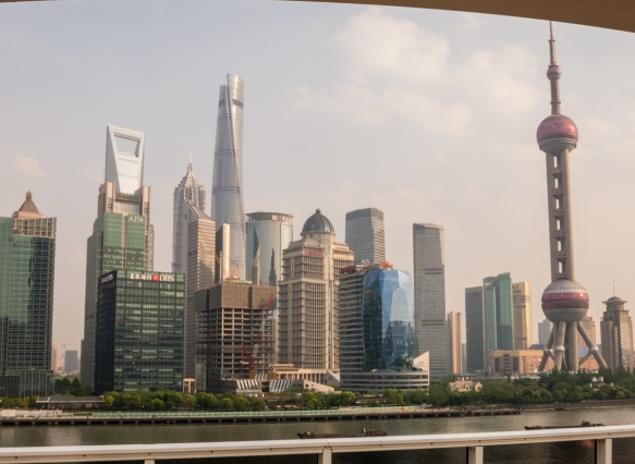 This view of the Pudong district with the Shanghai Tower, center, and the Oriental Pearl Radio & TV Tower on the right, was taken from the top deck of our ship while we were docked in Sh